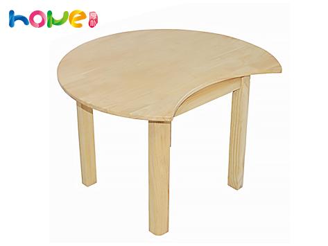 幼儿园月牙桌 山东厚朴幼儿园橡木月牙桌