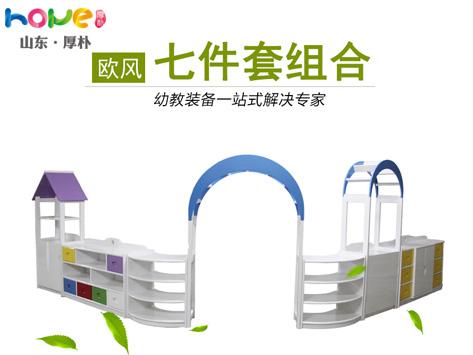 幼儿园家具厂家定制 儿童实木收纳储物区